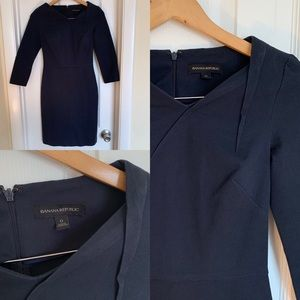 Banana Republic Navy Asymmetric Neck Pencil Dress